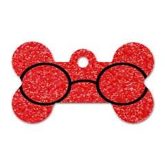 Glasses And Lightning Glitter Dog Tag Bone (one Side)