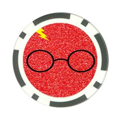 Glasses And Lightning Glitter Poker Chip Card Guard