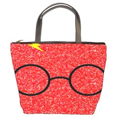 Glasses And Lightning Glitter Bucket Bags