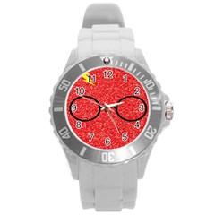 Glasses And Lightning Glitter Round Plastic Sport Watch (l)