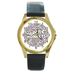 Artic Monkeys Flower Circle Round Gold Metal Watch by Samandel