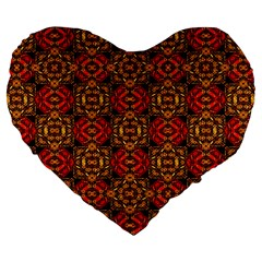 Colorful Ornate Pattern Design Large 19  Premium Flano Heart Shape Cushions by dflcprints
