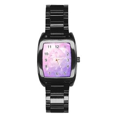 Beautiful Rose, Soft Violet Colors Stainless Steel Barrel Watch by FantasyWorld7