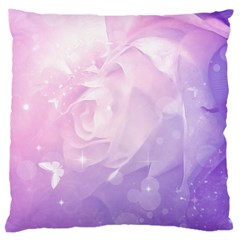 Beautiful Rose, Soft Violet Colors Large Cushion Case (one Side) by FantasyWorld7
