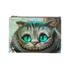 Cheshire Cat Cosmetic Bag (large)  by Samandel