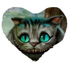 Cheshire Cat Large 19  Premium Heart Shape Cushions
