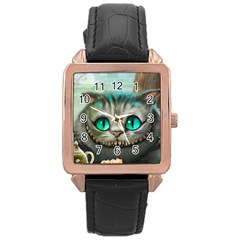 Cheshire Cat Rose Gold Leather Watch