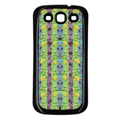 Decorative Summer Girls With Flower Hair Samsung Galaxy S3 Back Case (black) by pepitasart