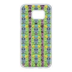 Decorative Summer Girls With Flower Hair Samsung Galaxy S7 Edge White Seamless Case by pepitasart