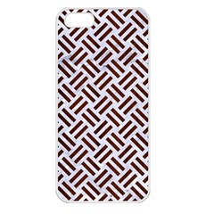 Woven2 White Marble & Reddish Brown Wood (r) Apple Iphone 5 Seamless Case (white) by trendistuff
