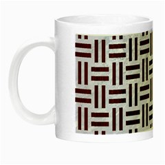Woven1 White Marble & Reddish Brown Wood (r) Night Luminous Mugs by trendistuff