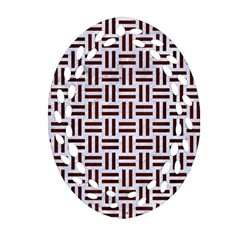 Woven1 White Marble & Reddish Brown Wood (r) Ornament (oval Filigree) by trendistuff
