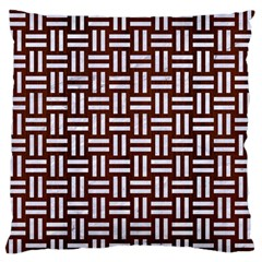 Woven1 White Marble & Reddish Brown Wood Large Flano Cushion Case (two Sides) by trendistuff
