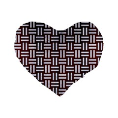 Woven1 White Marble & Reddish Brown Wood Standard 16  Premium Flano Heart Shape Cushions by trendistuff