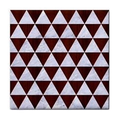 Triangle3 White Marble & Reddish Brown Wood Tile Coasters by trendistuff