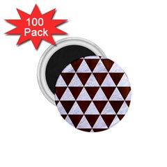 Triangle3 White Marble & Reddish Brown Wood 1 75  Magnets (100 Pack)  by trendistuff
