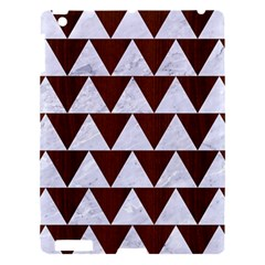 Triangle2 White Marble & Reddish Brown Wood Apple Ipad 3/4 Hardshell Case by trendistuff