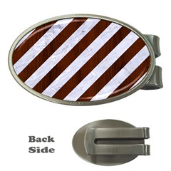 Stripes3 White Marble & Reddish Brown Wood (r) Money Clips (oval)  by trendistuff