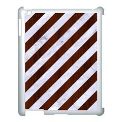 Stripes3 White Marble & Reddish Brown Wood (r) Apple Ipad 3/4 Case (white) by trendistuff