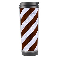 Stripes3 White Marble & Reddish Brown Wood (r) Travel Tumbler by trendistuff