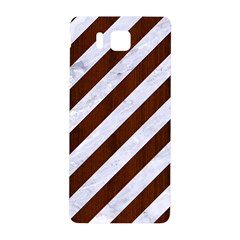Stripes3 White Marble & Reddish Brown Wood (r) Samsung Galaxy Alpha Hardshell Back Case by trendistuff