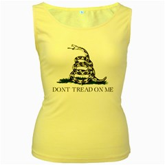 Gadsden Flag Don t Tread On Me Women s Yellow Tank Top by MAGA