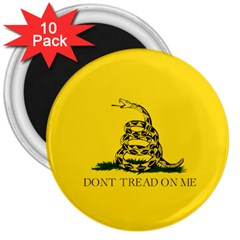 Gadsden Flag Don t Tread On Me 3  Magnets (10 Pack)