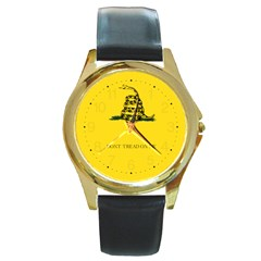Gadsden Flag Don t Tread On Me Round Gold Metal Watch by MAGA