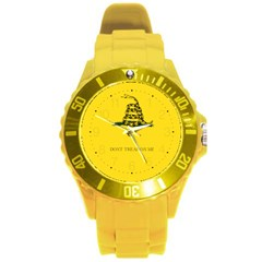 Gadsden Flag Don t Tread On Me Round Plastic Sport Watch (l) by MAGA