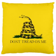 Gadsden Flag Don t Tread On Me Large Flano Cushion Case (two Sides) by MAGA