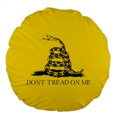 Gadsden Flag Don t Tread On Me Large 18  Premium Flano Round Cushions by MAGA