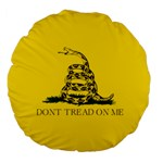 Gadsden Flag Don t tread on me Large 18  Premium Flano Round Cushions Front
