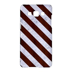 Stripes3 White Marble & Reddish Brown Wood Samsung Galaxy A5 Hardshell Case  by trendistuff