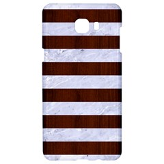 Stripes2white Marble & Reddish Brown Wood Samsung C9 Pro Hardshell Case  by trendistuff