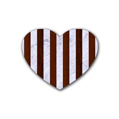Stripes1 White Marble & Reddish Brown Wood Rubber Coaster (heart)  by trendistuff