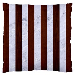 Stripes1 White Marble & Reddish Brown Wood Large Cushion Case (one Side)