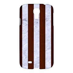 Stripes1 White Marble & Reddish Brown Wood Samsung Galaxy S4 I9500/i9505 Hardshell Case by trendistuff