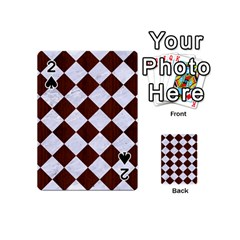 Square2 White Marble & Reddish Brown Wood Playing Cards 54 (mini)  by trendistuff