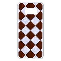 Square2 White Marble & Reddish Brown Wood Samsung Galaxy S8 Plus White Seamless Case by trendistuff