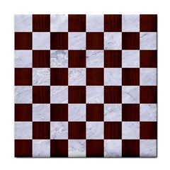 Square1 White Marble & Reddish Brown Wood Tile Coasters by trendistuff