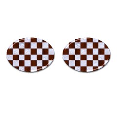 Square1 White Marble & Reddish Brown Wood Cufflinks (oval) by trendistuff