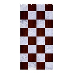 Square1 White Marble & Reddish Brown Wood Shower Curtain 36  X 72  (stall)