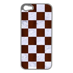 Square1 White Marble & Reddish Brown Wood Apple Iphone 5 Case (silver)