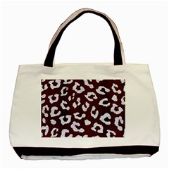 Skin5 White Marble & Reddish Brown Wood (r) Basic Tote Bag by trendistuff