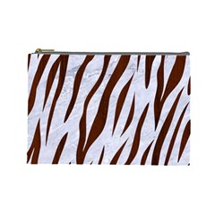 Skin3 White Marble & Reddish Brown Wood (r) Cosmetic Bag (large)  by trendistuff