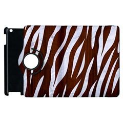 Skin3 White Marble & Reddish Brown Wood Apple Ipad 3/4 Flip 360 Case by trendistuff