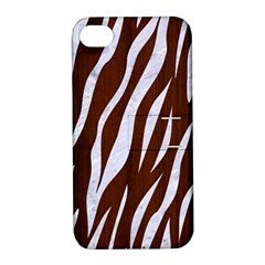 Skin3 White Marble & Reddish Brown Wood Apple Iphone 4/4s Hardshell Case With Stand by trendistuff