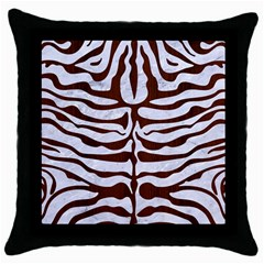 Skin2 White Marble & Reddish Brown Wood (r) Throw Pillow Case (black)