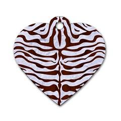 Skin2 White Marble & Reddish Brown Wood (r) Dog Tag Heart (one Side) by trendistuff