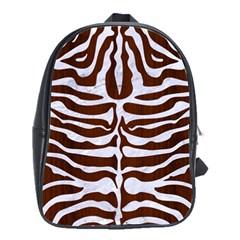 Skin2 White Marble & Reddish Brown Wood School Bag (large) by trendistuff